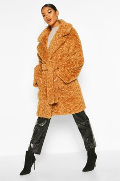 Textured Faux Fur Belted Coat - Beige - 8