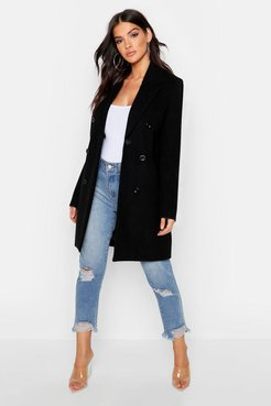 Double Breasted Coat - Black - 4