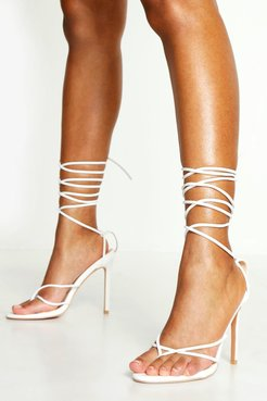 Toe Post Wrap Ankle Heels - White - 5