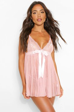 Pleated Bow Babydoll & String Set - Pink - S