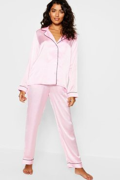 Contrast Piping Button Down Satin Valentines Set - Pink - 2