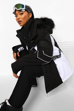 Plus Luxe Colour Block Ski Jacket - Black - 20