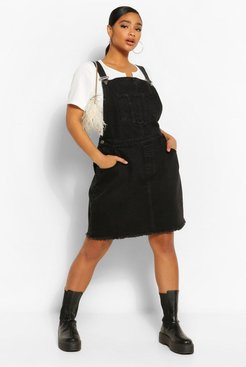 Plus Denim Pocket Fray Hem Pinafore Dress - Black - 12