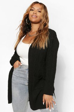 Plus Cable Knitted Oversized Cardigan - Black - 12-14