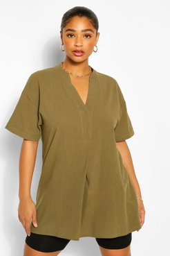 Plus Longline Tunic Blouse - Green - 14