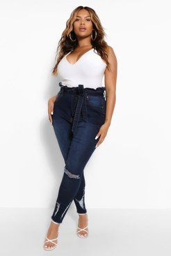 Plus High Waisted Belted Distressed Skinny Jean - Blue - 20