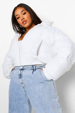 Plus Funnel Neck Cropped Puffer Jacket - White - 18