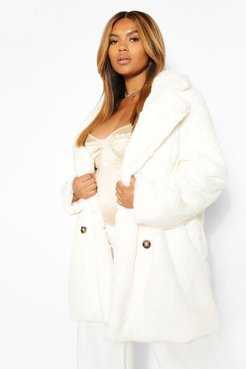 Plus Double Breasted Faux Fur Coat - White - 12