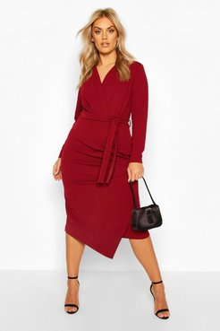 Plus Wrap Front Midi Dress - Red - 12