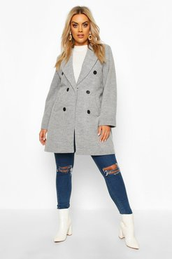 Plus Double Breasted Coat - Grey - 18