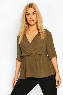 Plus Angel Sleeve Peplum Blouse - Green - 12