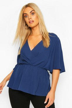 Plus Angel Sleeve Peplum Blouse - Navy - 18