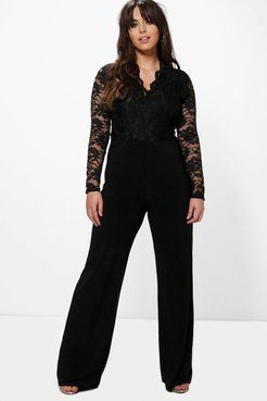 Plus Long Sleeve Lace Top Slinky Jumpsuit - Black - 12