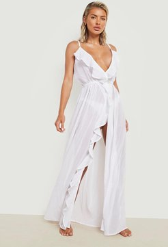 Frill Split Maxi Beach Dress - White - S