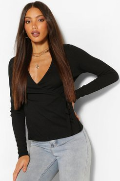 Tall Rib Wrap Over Long Sleeve Top - Black - 2