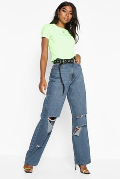 Tall Rip Boyfriend Jeans - Blue - 2