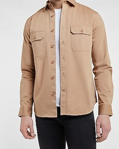 Solid Stretch Shirt Jacket