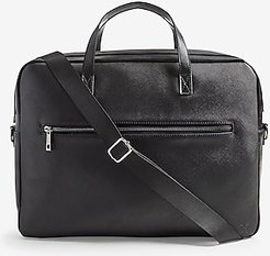 Textured Faux Leather Briefcase