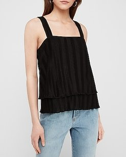 Pleated Layered Square Neck Tank Women's Pitch Black