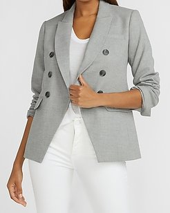 Double Breasted Flannel Cropped Business Blazer Women's Heather Gray