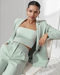 Supersoft Twill Double Breasted Cropped Business Blazer Women's Puritan Gray