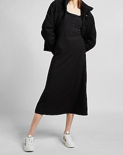 High Waisted Ribbed Knit Midi Skirt Women's Pitch Black