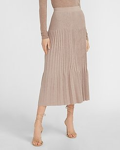 High Waisted Pleated Midi Sweater Skirt Pink Women's S