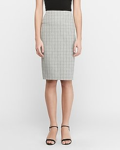 High Waisted Stripe Clean Front Pencil Skirt Gray Print Women's 10