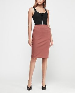 High Waisted Patch Pocket Pencil Skirt Red Women's 00