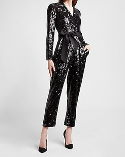 Sequin Belted Long Sleeve Jumpsuit Women's Pitch Black