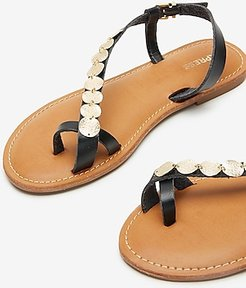 Toe Loop Coin Sandals Women's Pitch Black