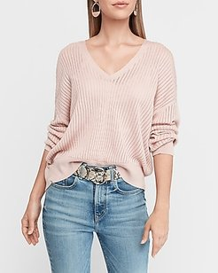 V-Neck Wedge Pullover Sweater Women's Truffle Pink