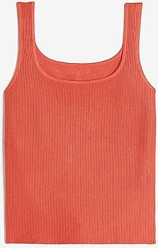 Ribbed Square Neck Sweater Tank Women's Lobster