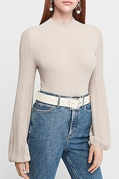 Fitted Volume Sleeve Sweater Women's Soft Alabaster