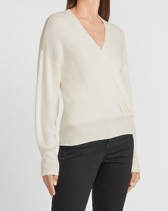 Wrap Front V-Neck Sweater Women's Ivory