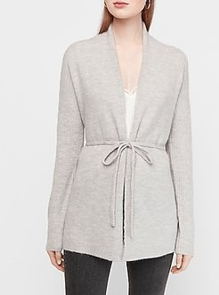 Belted Wrap Front Cardigan Gray Women's XL
