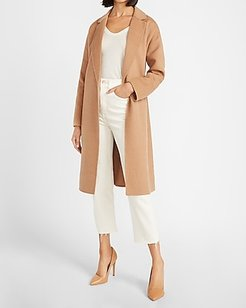 Belted Wrap Front Wool Coat Brown Women's XL
