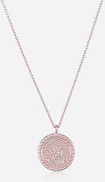 Sterling Silver Engraved Disk Pendant Pink Women's ONESIZE