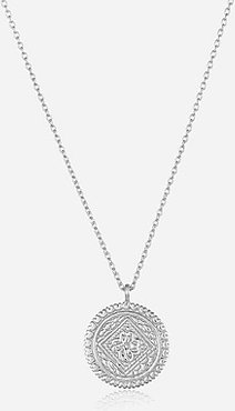 Sterling Silver Engraved Disk Pendant Silver Women's ONESIZE