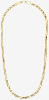 Sterling Forever Flat Link Chain Necklace Women's Gold