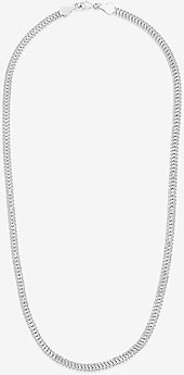 Sterling Forever Flat Link Chain Necklace Women's Silver