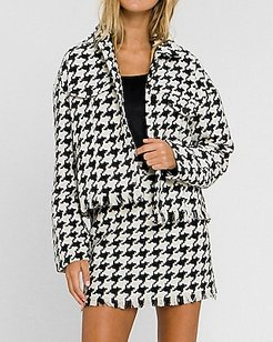 Grey Lab Button Down Tweed Jacket Black And White Print Women's S