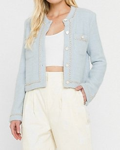 Endless Rose Chain-Trimmed Jacket Blue Women's L