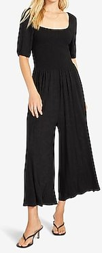 Bb Dakota Square Neck Smocked Jumpsuit Black Women's S