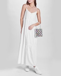 Emory Park Sleeveless Button Front Tiered Maxi Dress White Women's M
