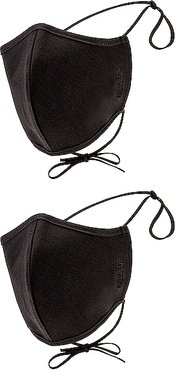 Two Pack Embroidered Cotton Masks in Black