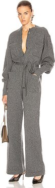 Cashmere Tie Jumpsuit in Gray