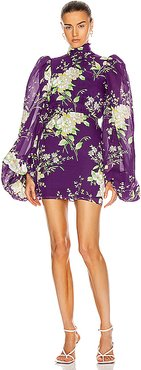 Long Sleeve Floral Mini Dress in Floral,Purple