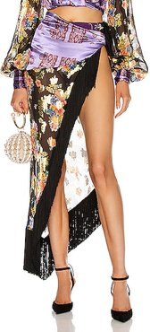 Gipsy Bouquet Wrap Skirt in Black,Floral,Paisley,Purple,Metallic