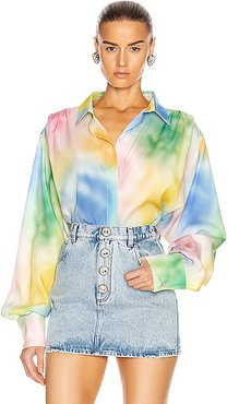 Printed Oversized Button Down Blouse in Multi